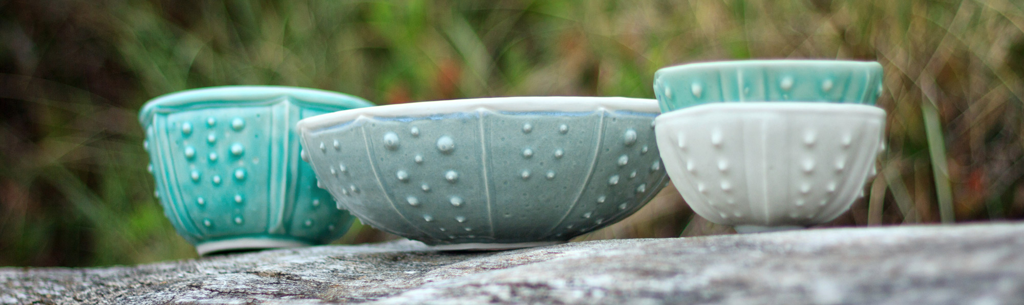 Urchin bowls - sea urchin porcelain bowls, sea life ceramics by Emily Miller