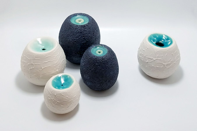 Lagoon Pots and Anemone Pots - ceramic sculpture by Emily Miller
