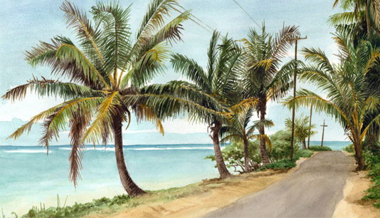 Anini Beach Road - Kauai watercolor painting by artist Emily Miller
