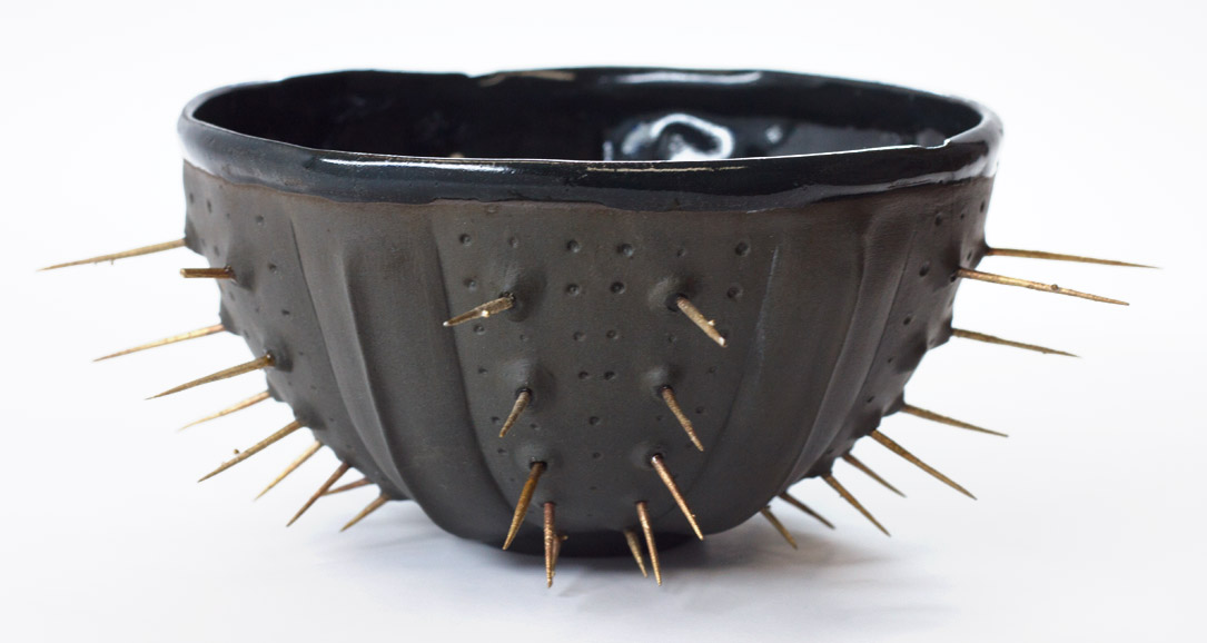 Black Spike (urchin bowls series) - ceramic sculpture by artist Emily Miller