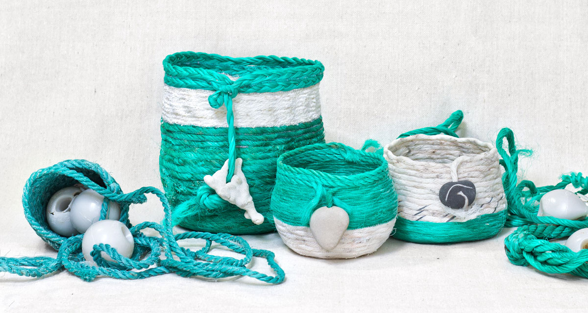 Ghost Net Baskets recycled fishing rope fiber art sculpture by artist Emily Miller