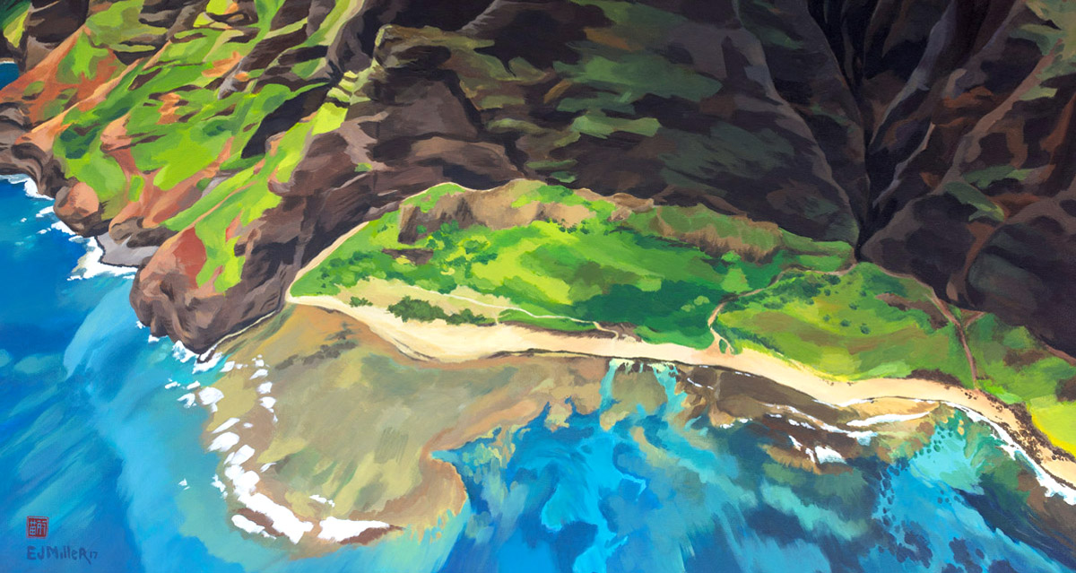 Na Pali Coast Kauai Hawaii painting by artist Emily Miller