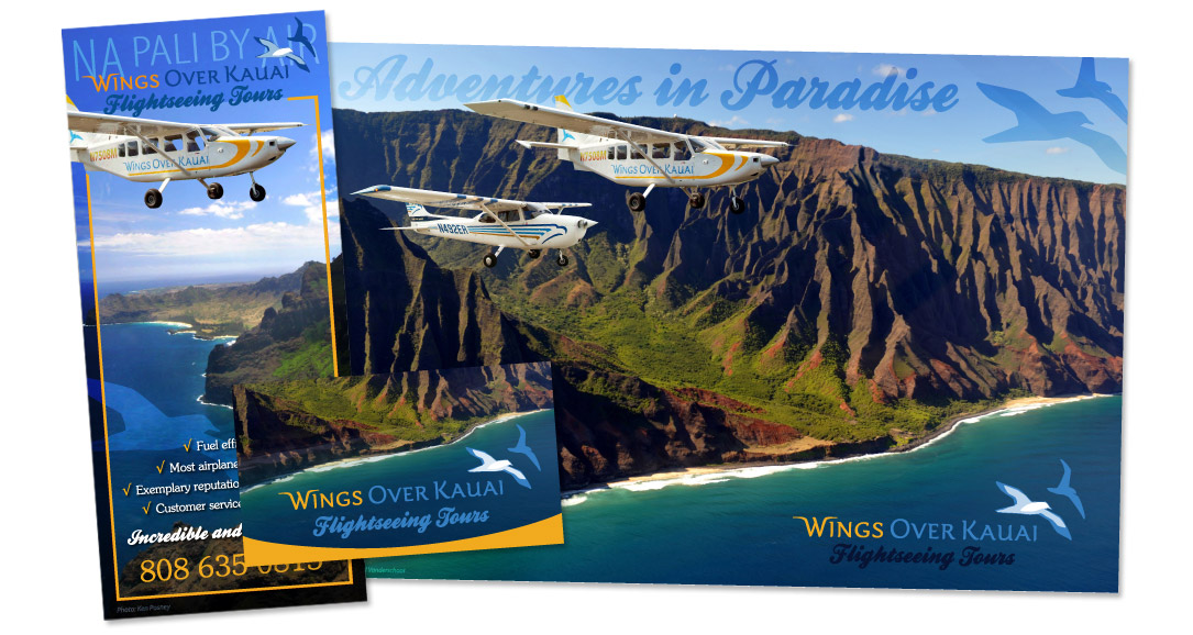 Wings Over Kauai - graphic design by artist Emily Miller