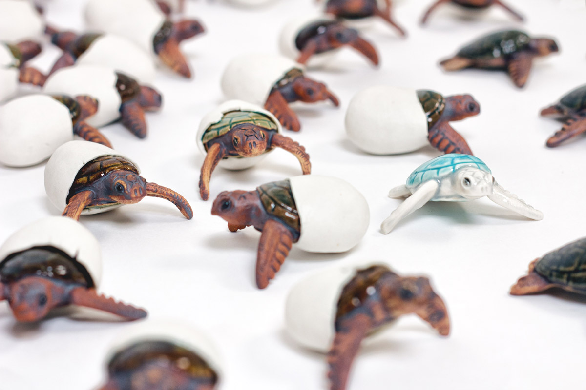 Emily Miller sea turtle ceramic sculpture