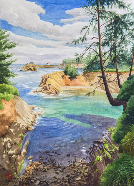 Cape Arago Lighthouse watercolor painting by Emily Miller