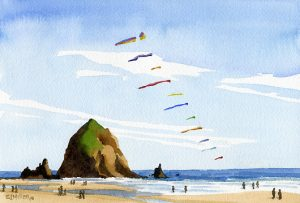 Kites at Cannon Beach - Oregon watercolor painting by artist Emily Miller