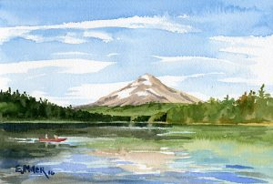 Mt. Hood from Trillium Lake - Oregon watercolor painting by artist Emily Miller