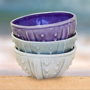 Urchin Rice Bowls - slipcast porcelain by artist Emily Miller