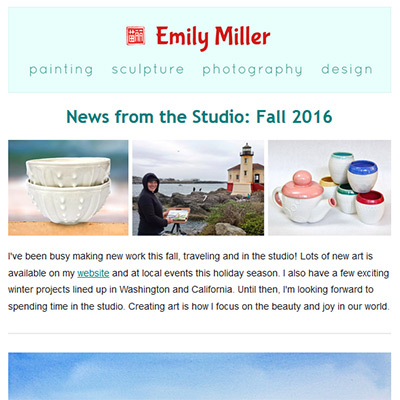 Fall 2016 email news: Holiday events + 14 new paintings