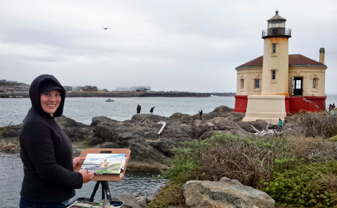 Artist Emily Miller painting en plein air on the Oregon coast