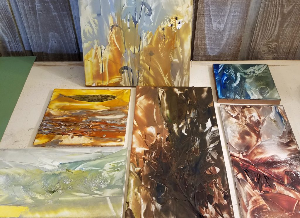 Encaustic wax paintings in progress by artist Emily Miller