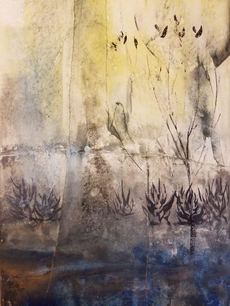 Encaustic wax painting work in progress by artist Emily Miller