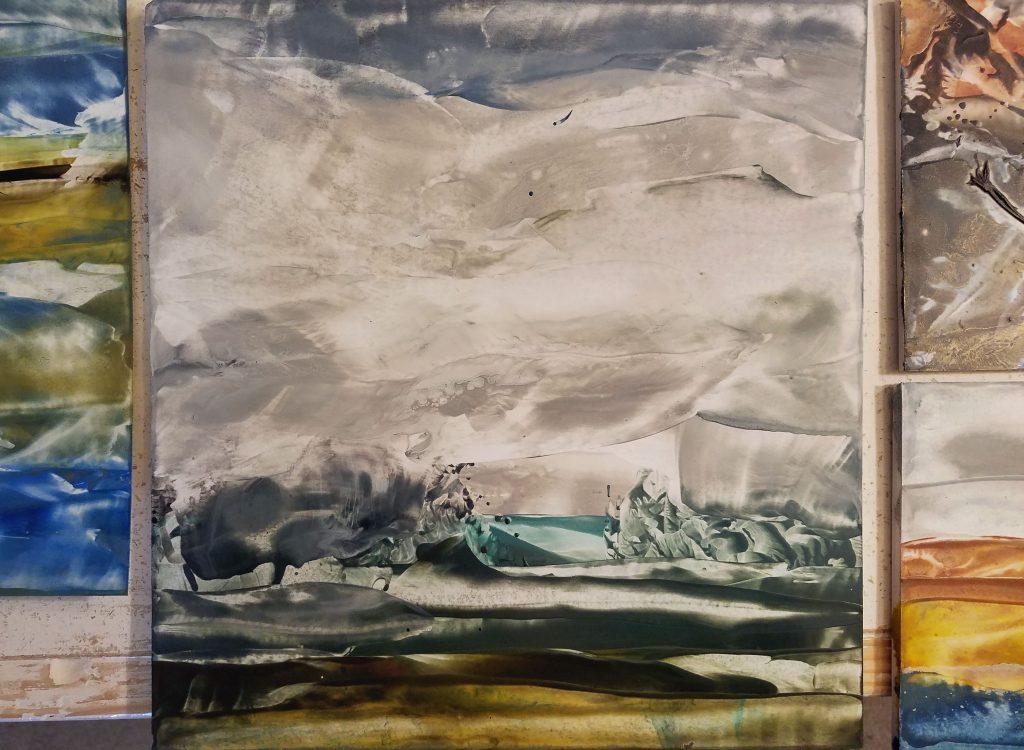 Encaustic wax paintings in progress by artist Emily Miller