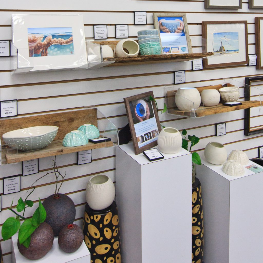 Ocean-inspired paintings and ceramics by artist Emily Miller at Frame Central, Beaverton, Oregon
