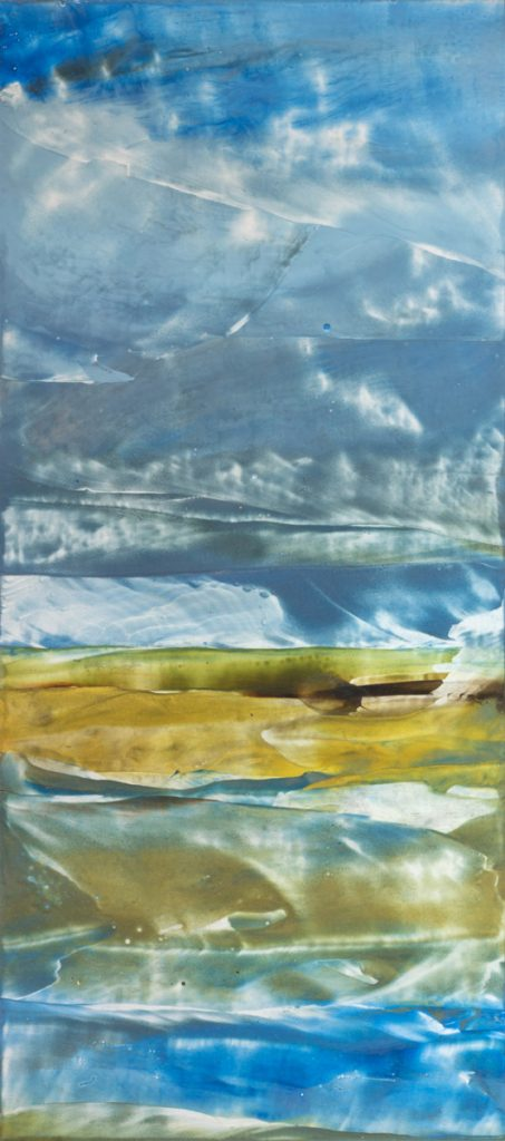 Clearing Storm, encaustic wax painting by artist Emily Miller