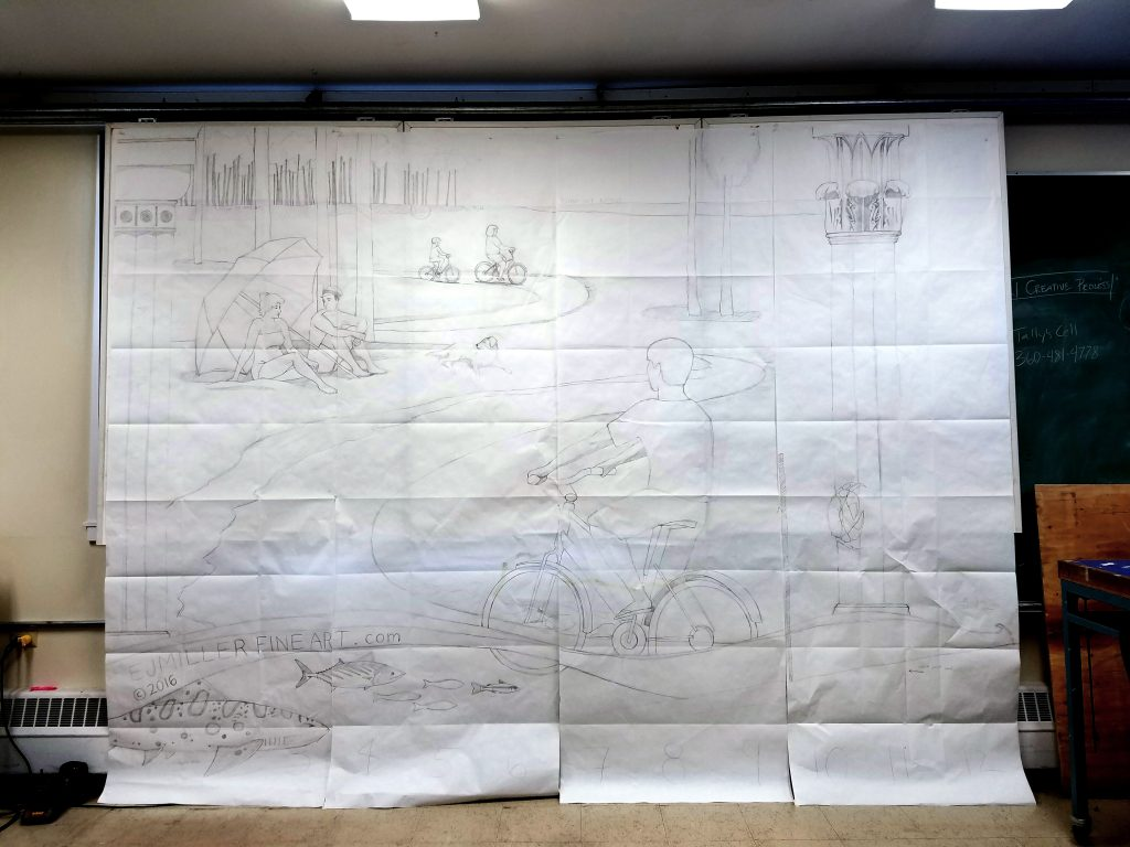 Full-scale outline sketch on paper