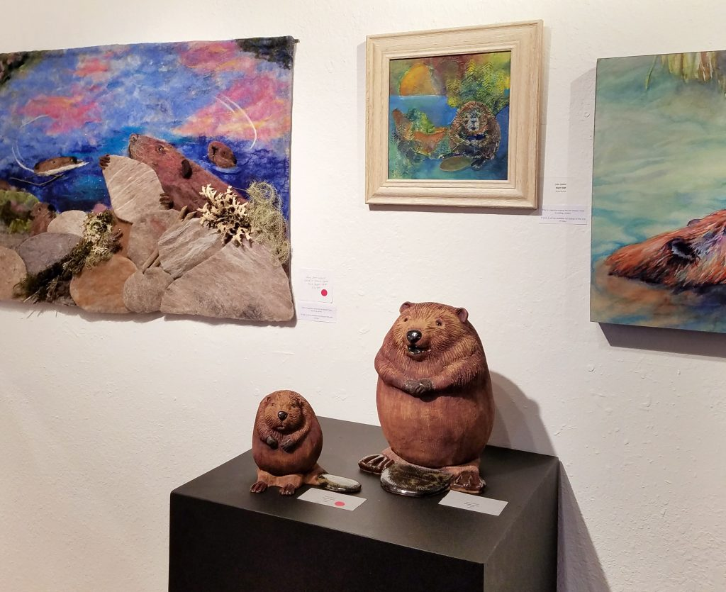 Beaver sculptures at Lake Oswego art exhibit opening