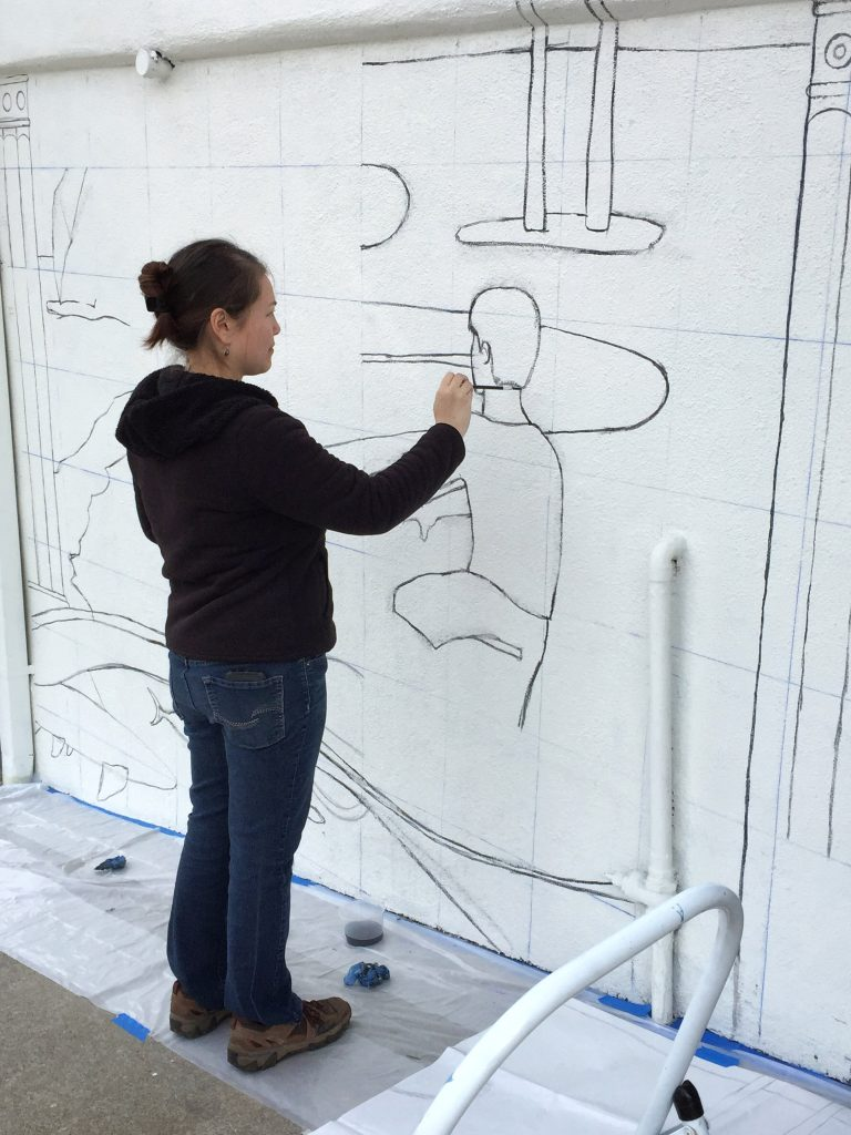 Mural outline drawing