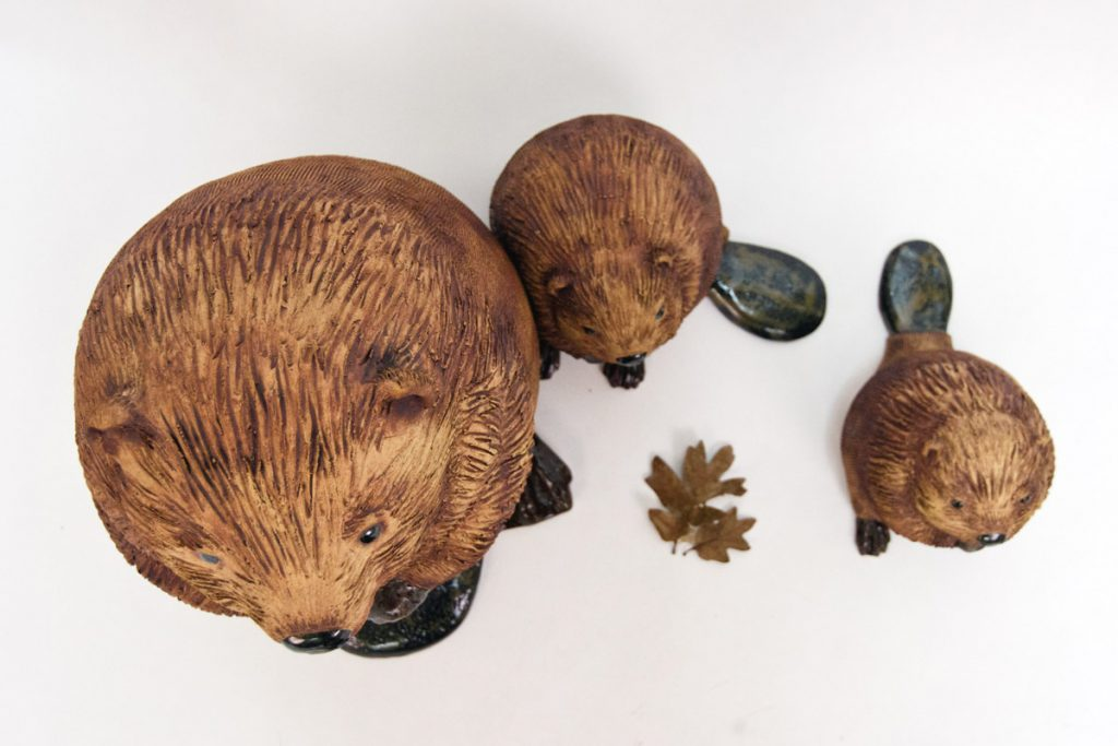 Beaver Family, ceramic sculpture by Oregon artist Emily Miller