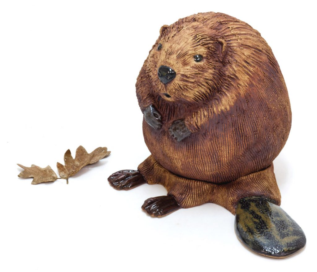 Beaver Kit 2, ceramic sculpture by Oregon artist Emily Miller