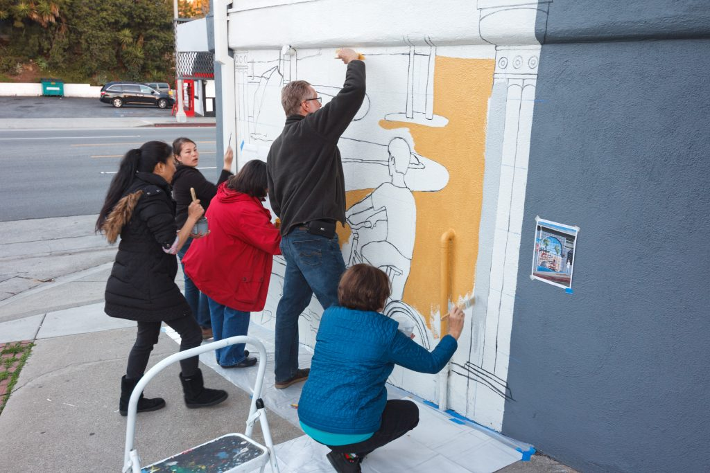 Group mural painting