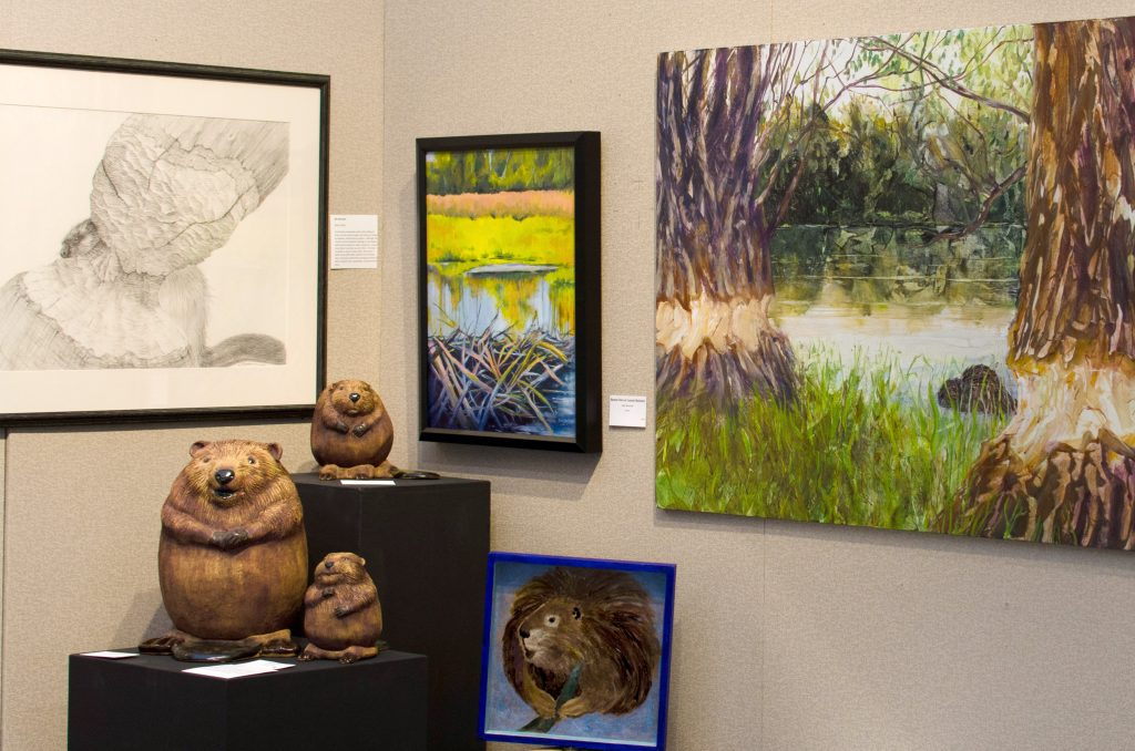 Beaver sculptures at OSU art exhibit opening