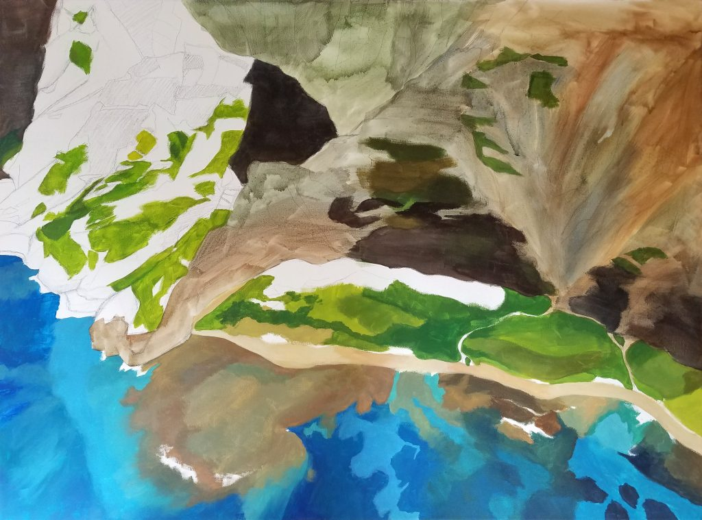 Nualolo Kai - Hawaii painting in progress by artist Emily Miller