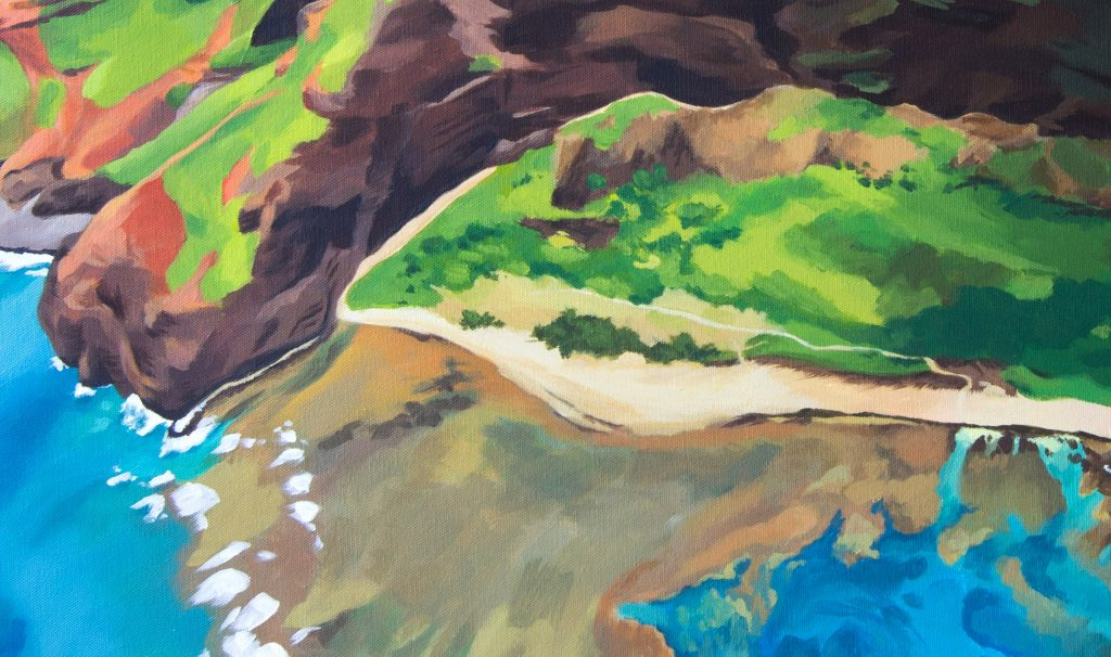 Nualolo Kai, detail - Hawaii painting by artist Emily Miller
