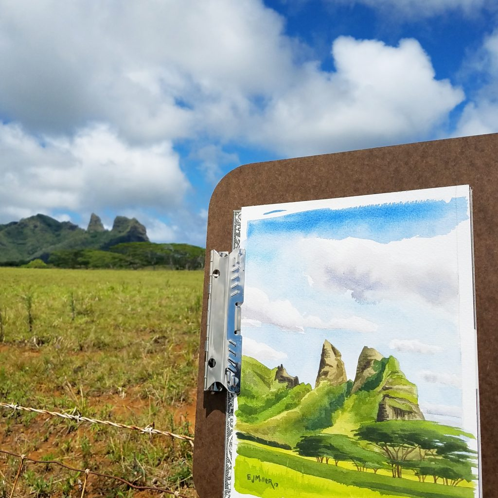 Kalalea Noon - plein air Kauai watercolor painting, Hawaii artwork by artist Emily Miller