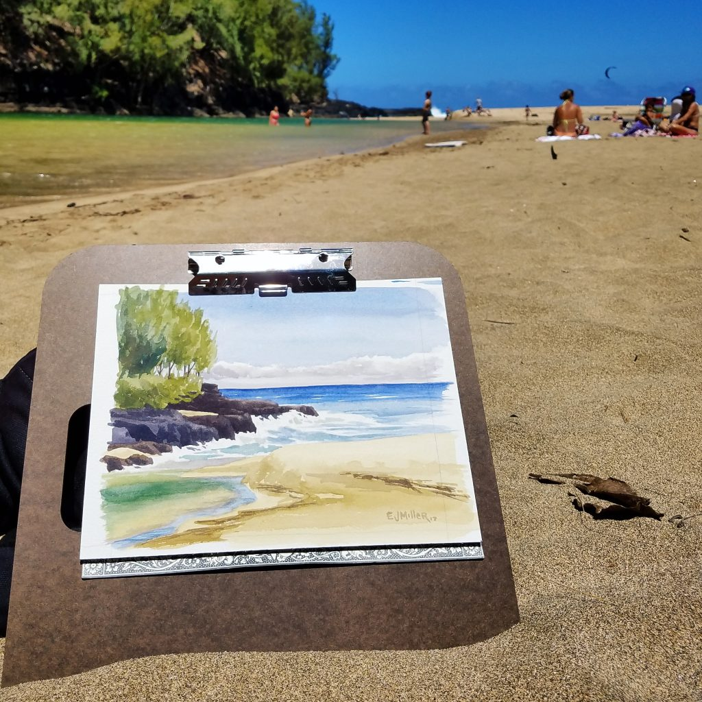 Lumahai River Mouth - plein air Kauai watercolor painting, Hawaii artwork by artist Emily Miller
