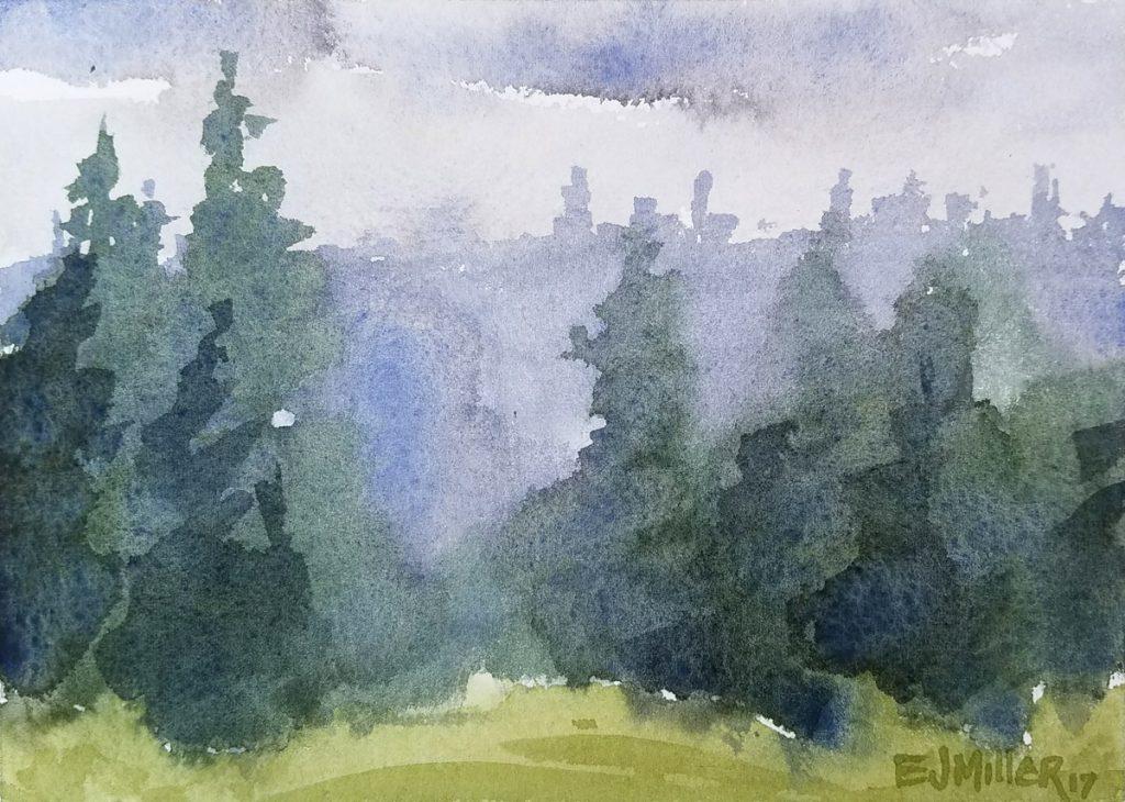 Evergreen Treeline, Oregon plein air watercolor painting by Emily Miller
