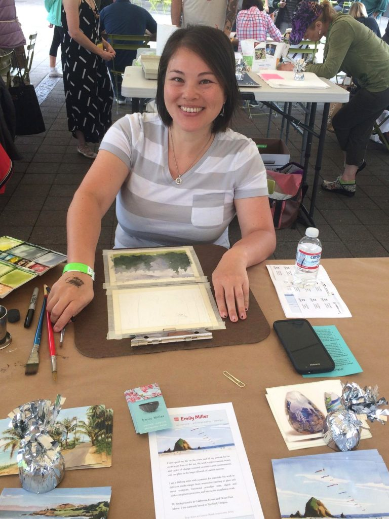 Emily Miller painting at Lake Oswego drawing rally