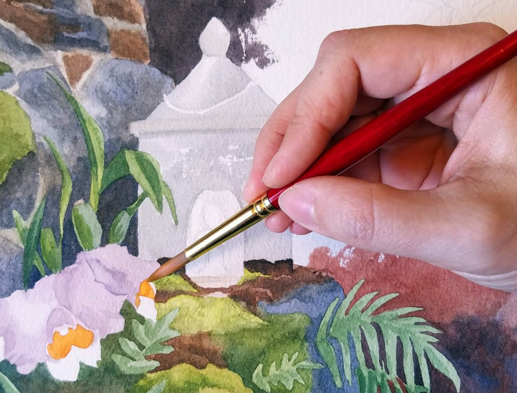 Progress on a painting of Lawai International Center Buddhist shrines, Kauai
