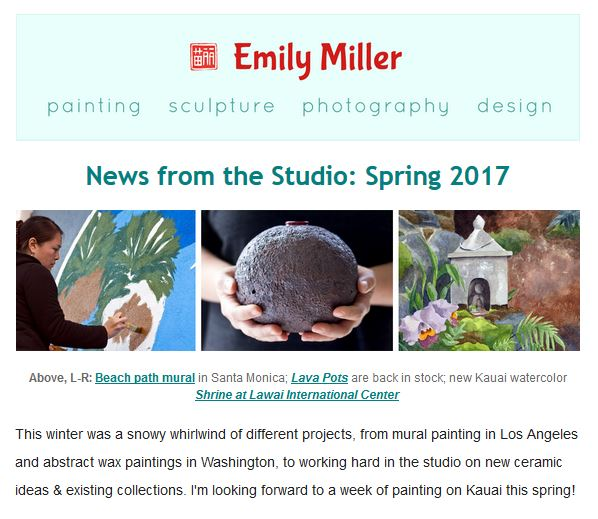 Spring 2017 email news: Big painting projects & new ceramics