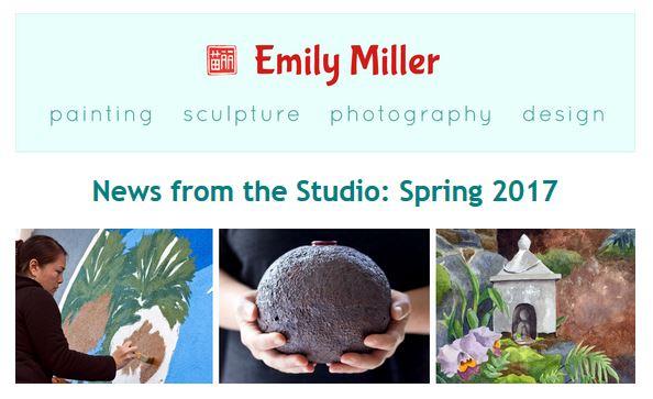 Email newsletter from Emily Miller fine art