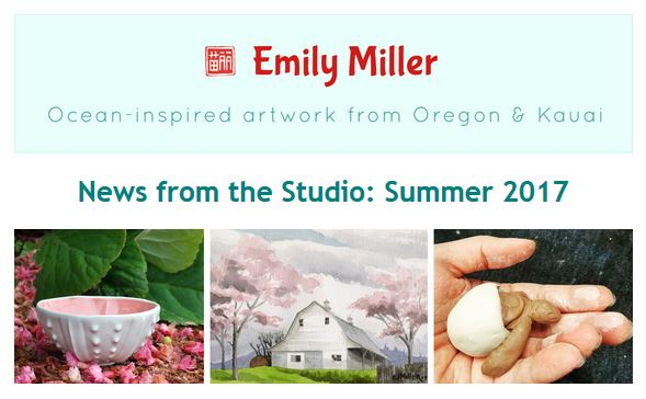 Email newsletter from Emily Miller fine art