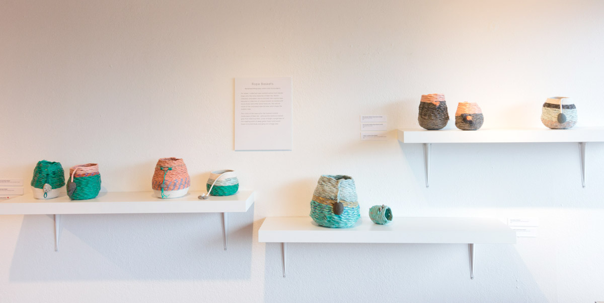 Rope Baskets - fiber sculpture on display at Water & form solo exhibit