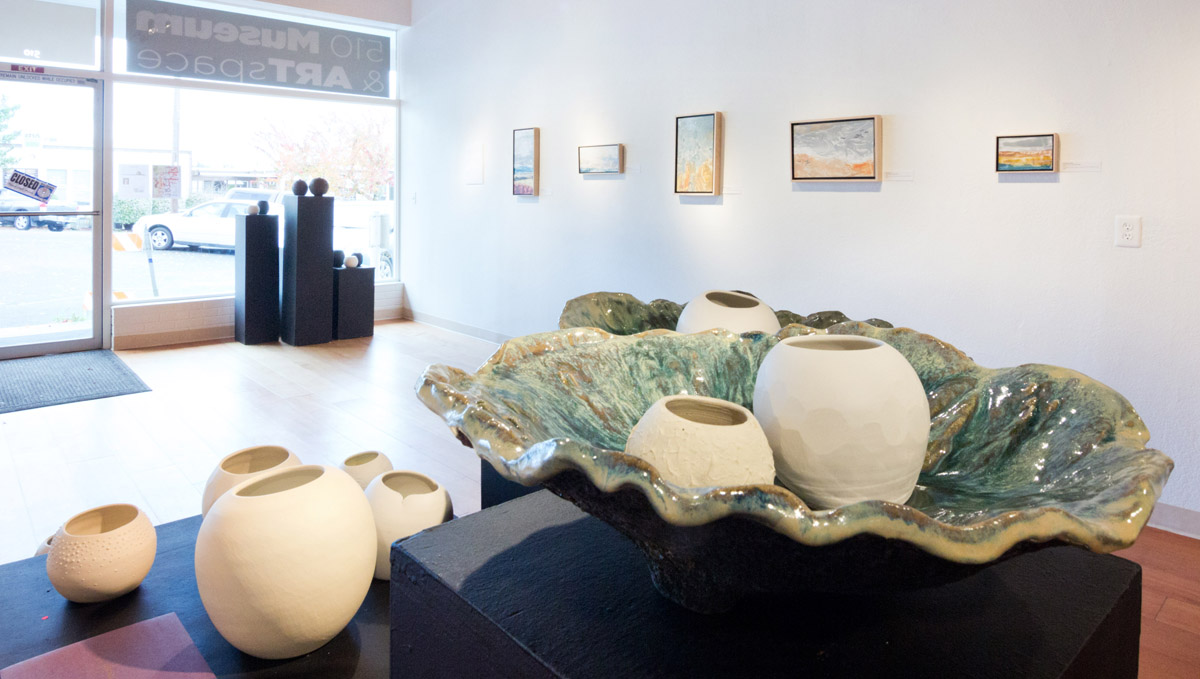 Wanderers glow pots and Ostrea giant shells on display at Water & Form solo exhibit