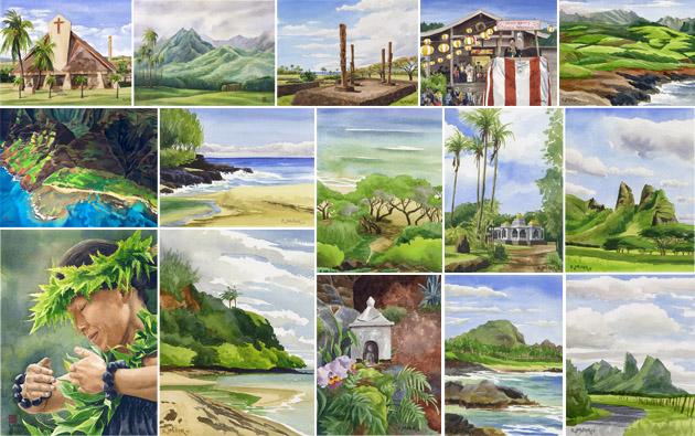 Kauai paintings by watercolor artist Emily Miller
