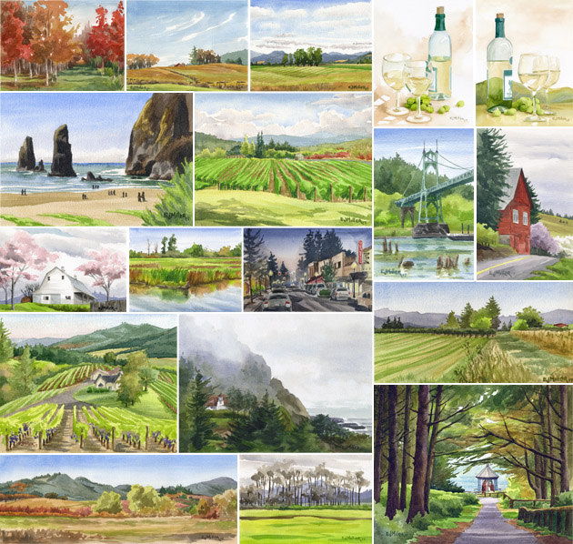 Oregon paintings by watercolor artist Emily Miller