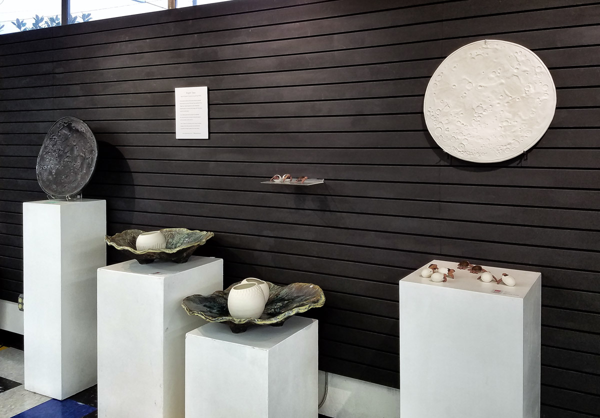 Moon Bowls on display at 'Night Sea' ceramics exhibit