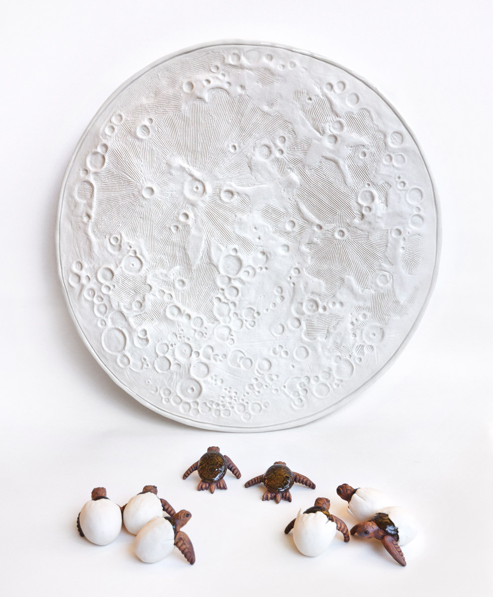 Night Sea ceramics exhibit by artist Emily Miller - full moon and hatching turtles