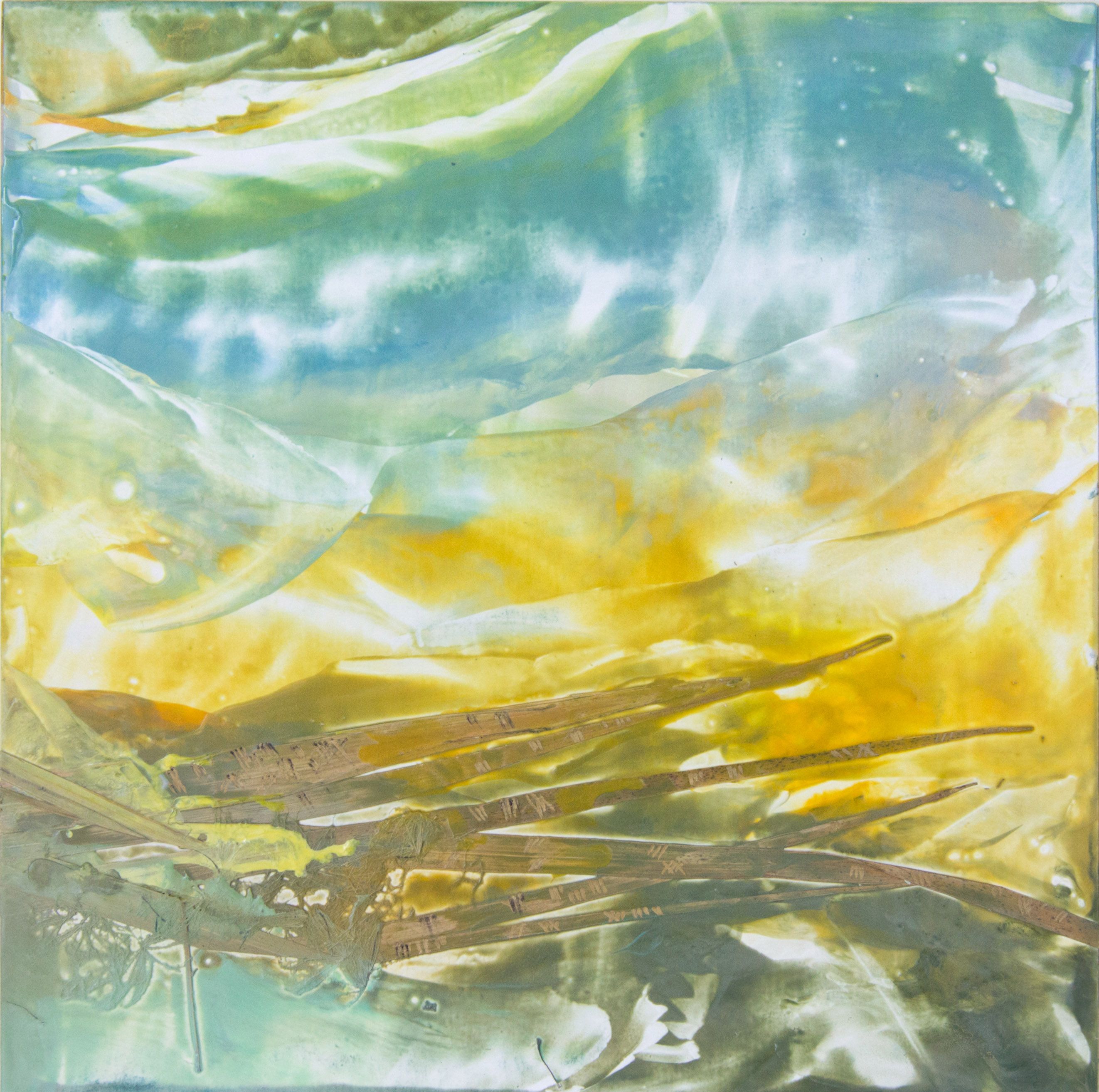Coastline I (River to Sea series), abstract encaustic wax painting by Emily Miller