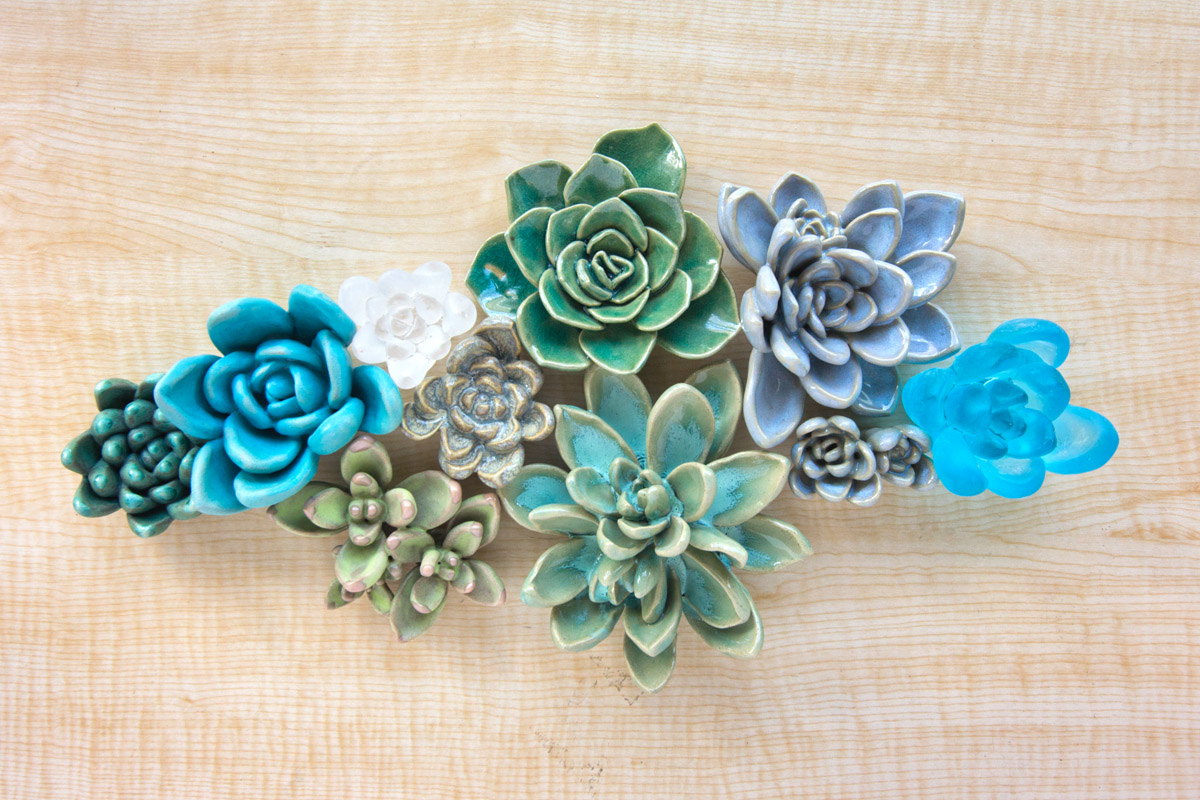 Succulents, ceramic and glass sculpture by Emily Miller