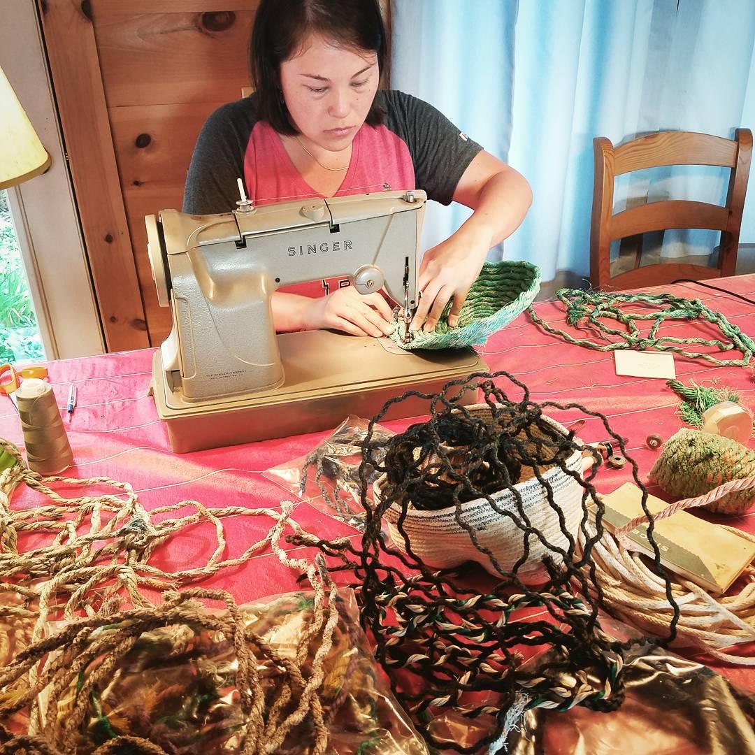 Rope Baskets, fiber art sculpture in progress by Emily Miller