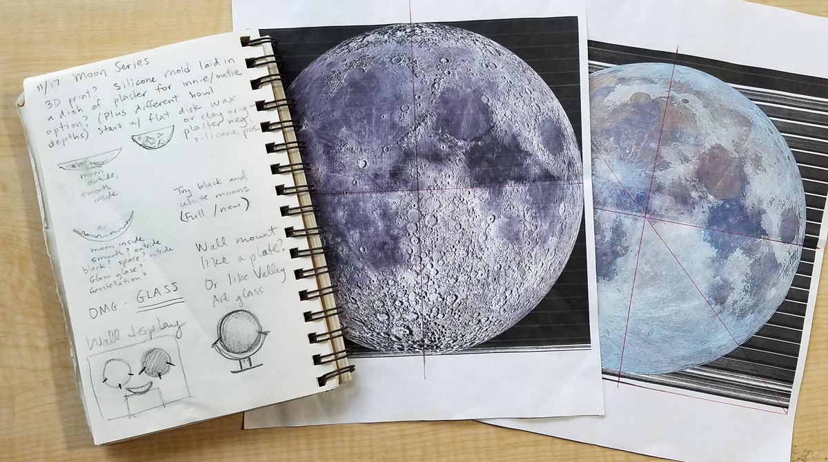 Sketches for Moon sculptures, ceramic artwork by Emily Miller