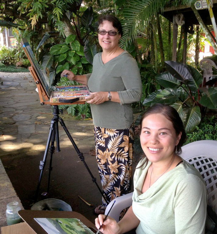 Plein air painting at Kauai's Hindu monastery