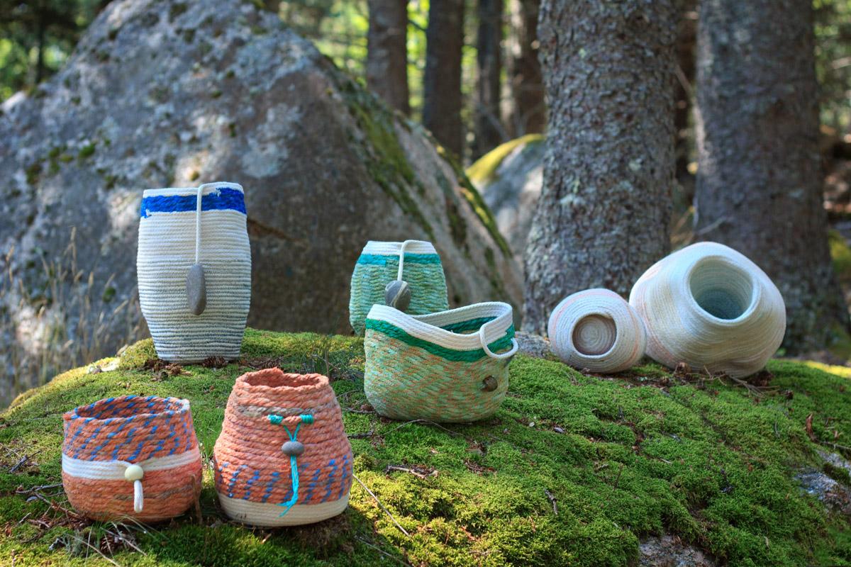 2015 rope baskets, fiber art sculpture by artist Emily Miller