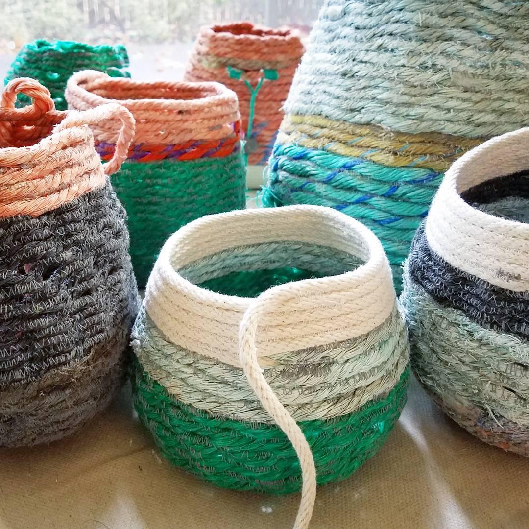 2017 rope baskets in progress, fiber art sculpture by artist Emily Miller