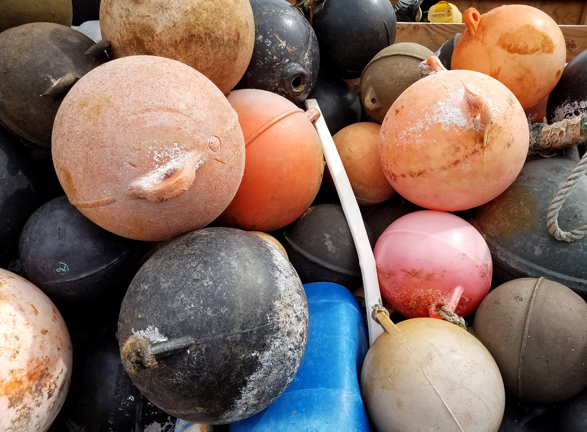 Fishing floats collected by Surfrider Kauai